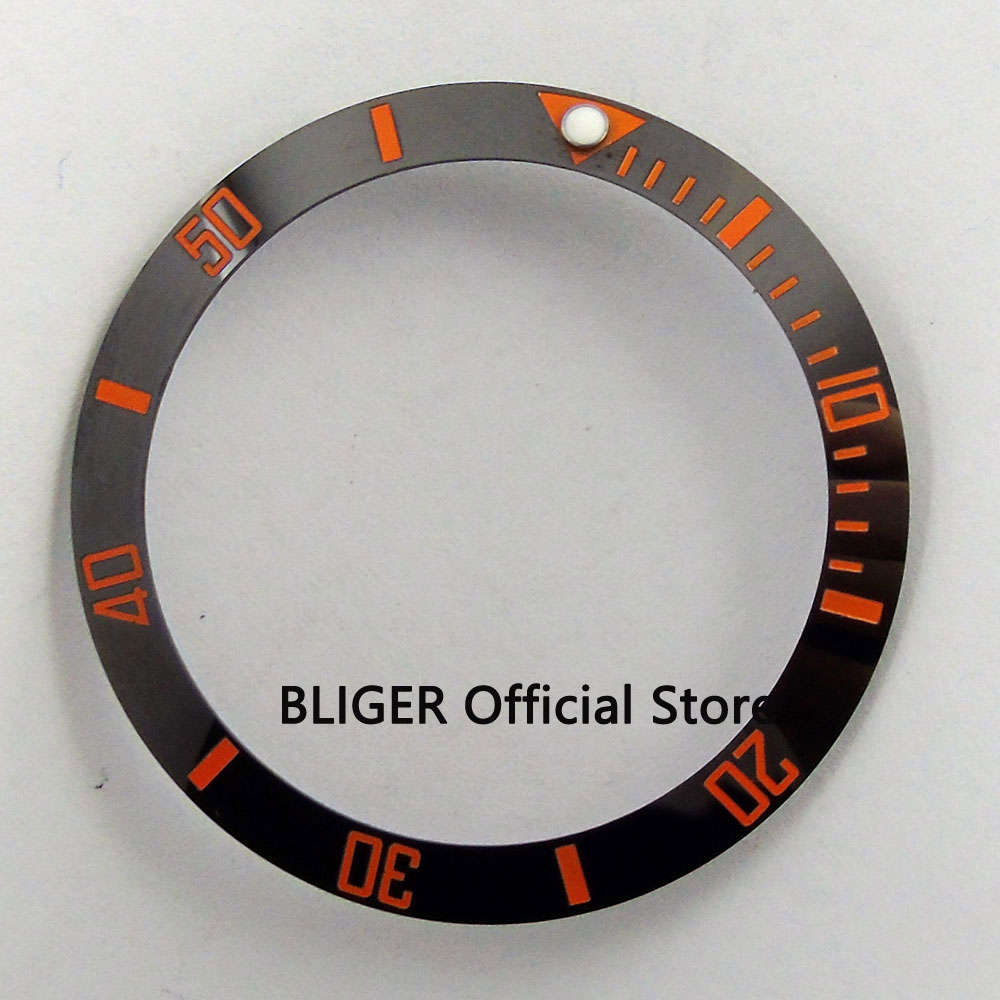 38mm Ceramic Bezel Insert Black With Orange Marks Luminous Dot Fit 40mm Watch Case SUB Automatic Men's Watch BB27