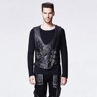 Punk Vintage Pu Leather Man Vest Gothic Black Sleeveless Slim Fitting Jacket Waistcoats With Pocket