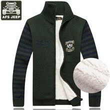 AFS JEEP Brand New Cardigan Male Men's Sweater Fleece Striped Sweater Men's Turtleneck Pull Homme Plus Size 3XL Mens Sweaters
