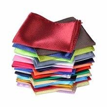 2 Men Silk Handkerchief Pocket Square Plain Solid Color for Wedding Party Formal Suit Hanky Fashion Satin Acc