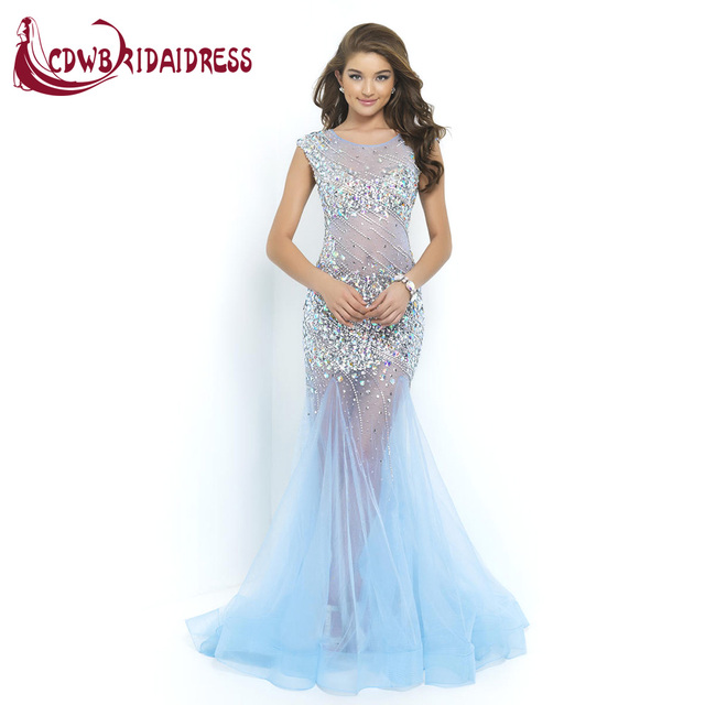 Sexy Open Back Long Trumpet Evening Dresses With Luxury Crystal Beaded  Tulle Sweep Train Formal Women Party Gowns Custom Made d7d5953965