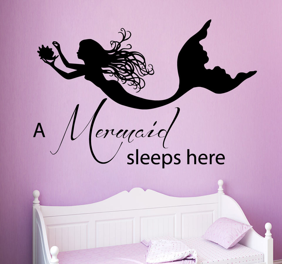 US $7.33 26% OFF|A Mermaid Sleeps Here Quote Wall Decal Nymph Girl Bedroom  Wall Sticker Vinyl Kids Nursery High Quality Ocean Style Decor SYY277-in ...