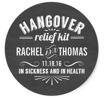 1.5inch Hangover Relief Kit Chalkboard Wedding Favor Classic Round Sticker
