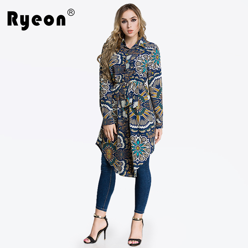 Ryeon Shirt Dress Autumn Spring Plus Size Women Dress Floral Printed Casual Sexy Loose Turn Down