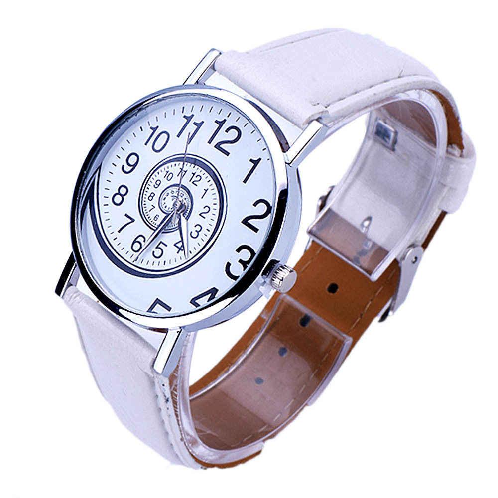 New Arrival moda mężczyzna kobiet zegarek kwarcowy wirowa wzór Dial cyframi zegarek specjalna konstrukcja zegarek