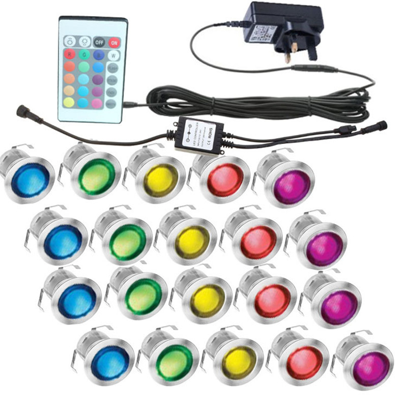 RGB 10 pièces LED étanche encastré au sol mur étape lampes Patio pavé plinthe éclairage extérieur 1 W souterrain lumière LED pont lumière