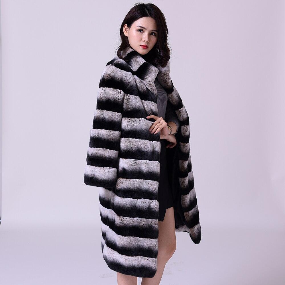 Действительно Lexus кролика Рекс волосы пальто с мехом женские натуральные Мех животных горизонтальные полоски толстые и теплые пальто с мех...