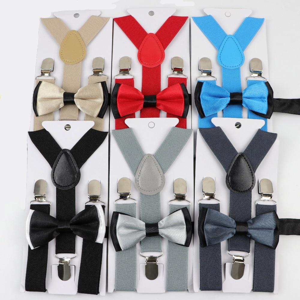 Solid Color Children Belt Bowtie Set Baby Boys Suspenders Polyester Y-Back Braces Two Colors Bow Tie Adjustable Elastic Kids