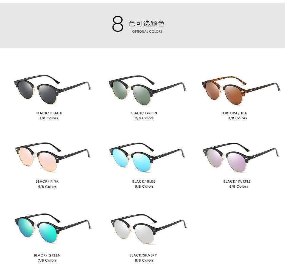 53a343f7b94 Hdsunfly polarized round sunglasses men women brand designer club classic sun  glasses driving semi rimless eyewear