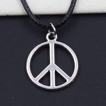 Cordão de pingente símbolo da paz, colar preto falso preto durável, gargantilha retrô boho tibetano cor prata