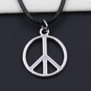 New Durable Black Faux Leather Peace Sign Symbol Pendant Cord Choker DIY Necklace Retro Boho Tibetan Silver Color