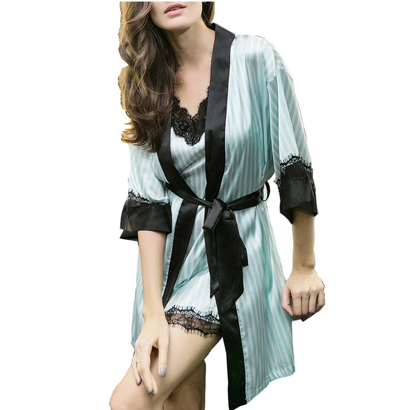 Pink White Striped Satin Robe and Nightgown Set Women Rhinestone Sexy Dressing Gown Bridesmaid Robes Silk Nightgowns Loungewear