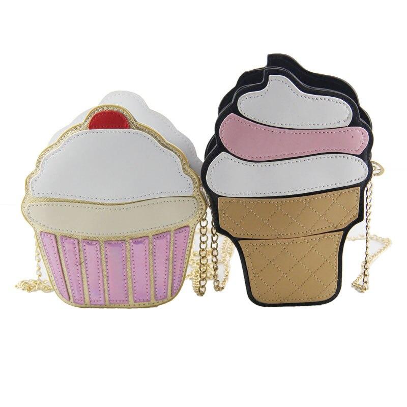 Divertido Pastel de Helado Bolsa Pequeñas Bolsas Crossbody Para Las Mujeres Lind