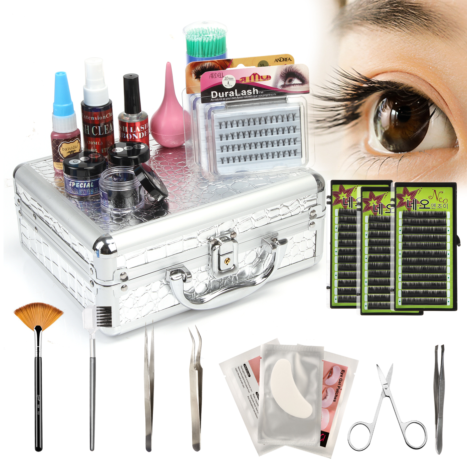 Anmas Rucci False Lashes Individual Extension Eyelash Micro Brushes Glue Tools Kits Case SetAnmas Rucci False Lashes Individual Extension Eyelash Micro Brushes Glue Tools Kits Case Set