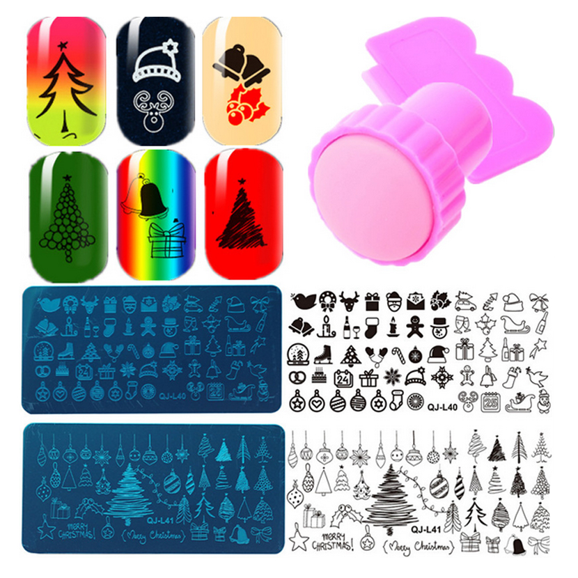 2016 New Rectangular Nail Art Stamping Plates Christmas Halloween Template With Stamper Scraper Nail Stamping Sets
