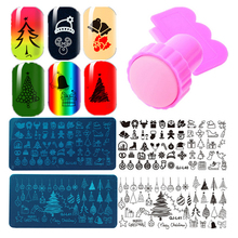 2016 New Rectangular Nail Art Stamping Plates Christmas Halloween Template With Stamper Scraper Nail Stamping Sets Pink
