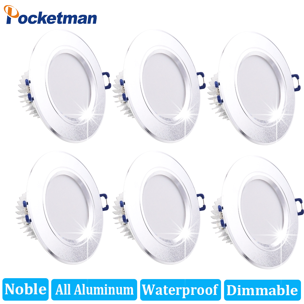 6Pcs/Lots Noble All Aluminum Dimmable LED Downlight 9W Waterproof Warm White Cold White Recessed LED Lamp Spot Light AC220V 230V