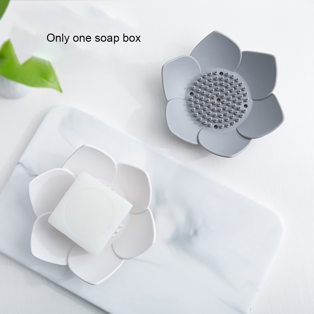 Holder Storage Shower Bathroom Supplies Soap Box Container Flower Shape Accessories Silicone Dish Hollowed Drain Anti Slip Home