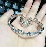Famous brand 925 Sterling Silver H lock jewelry For Women Men rose Silver design Letter H pig nose bracelet Bangle Ring Set