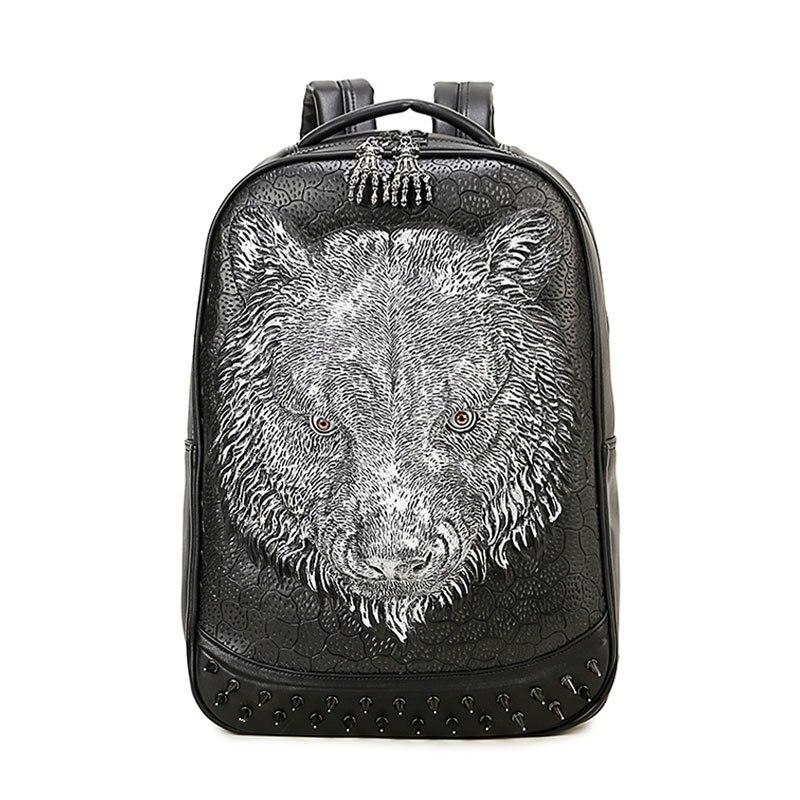 3D tête de tigre modèle sac à dos personnalité Halloween Costume noir or métal Rock Punk été sac Animal sacs à dos 2019 nouveau