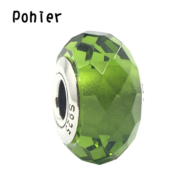 91f9441fb03 925 Sterling Silver Fascinating Olive Green Murano Glass Faceted Charms  European Beads Fit Pandora Bracelets SP00240