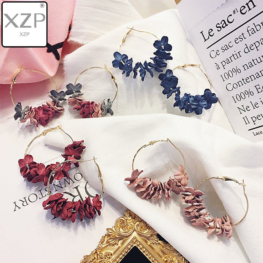 XZP Elegant Fabric Flower Big Hoop Earrings For Women Bijoux Colourful Ear Circle Statement Earrings Charm Brincos Oorbellen