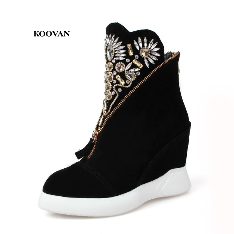 Koovan Women High Heel Boots 2018 New Fashion Women Shoes Increased Wedges Leather Leather Boots Pointed