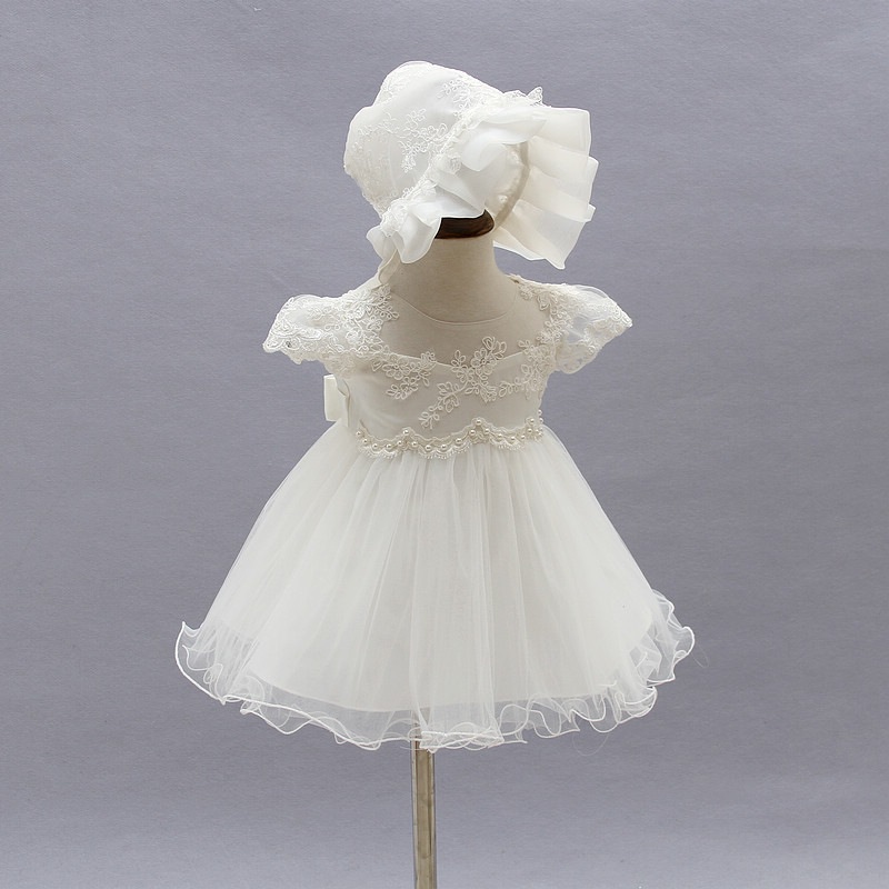e0dbf9d789fef 2019 Baby Girl Dress With Hat White 1 Year Old Birthday Party Formal  Vestido Infantil Baptism Clothes Christening Gown ABF164703-in Dresses from  Mother ...