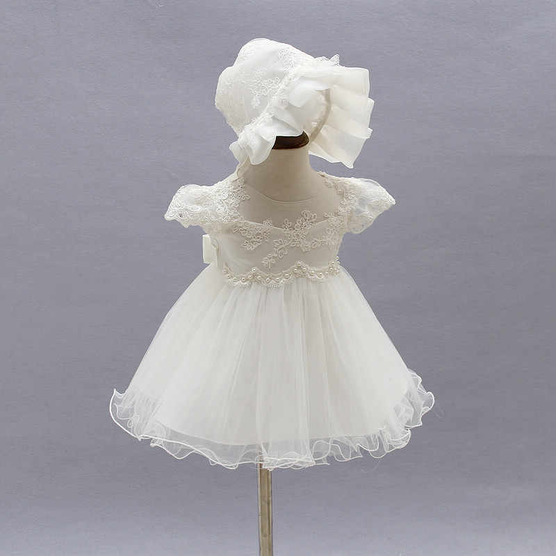 ... 2019 Baby Girl Dress With Hat White 1 Year Old Birthday Party Formal  Vestido Infantil Baptism ... c7186b08c57f