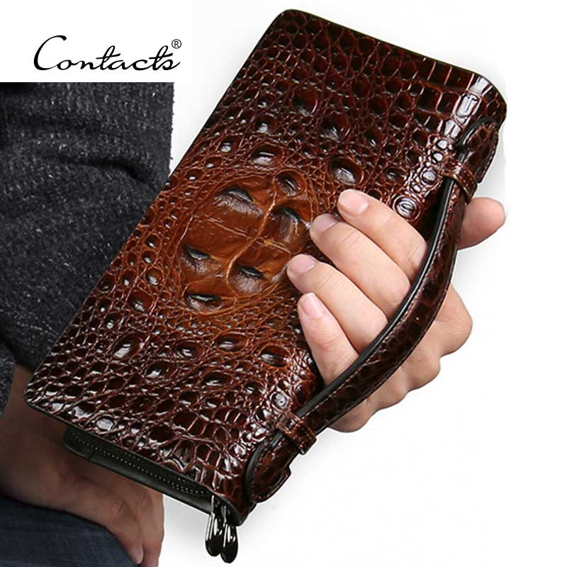 ФОТО CONTACT'S Fashion Luxury Alligator Leather Men Brown Clutch Bag Genuine Leather Double-Zip Around Business Clutch Bags