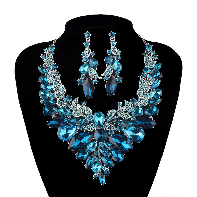Indian style Jewellery blue and champagne Crystal Necklace Earrings Bridal Jewelry Sets For Brides Party Wedding