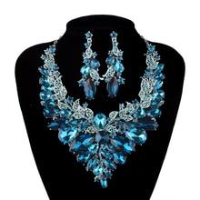 Индийский стиль Ювелирные Изделия синий и шампанское Crystal Ожерелье Серьги Свадебные Украшения Наборы Для Невесты Партии Свадебные Аксессуары