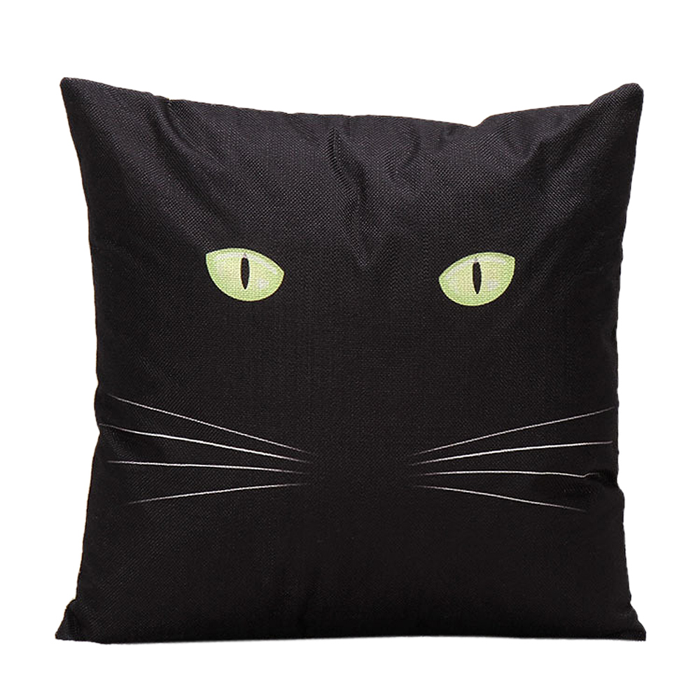 Ouneed Night Cat Linen Decorative Throw Pillow Case