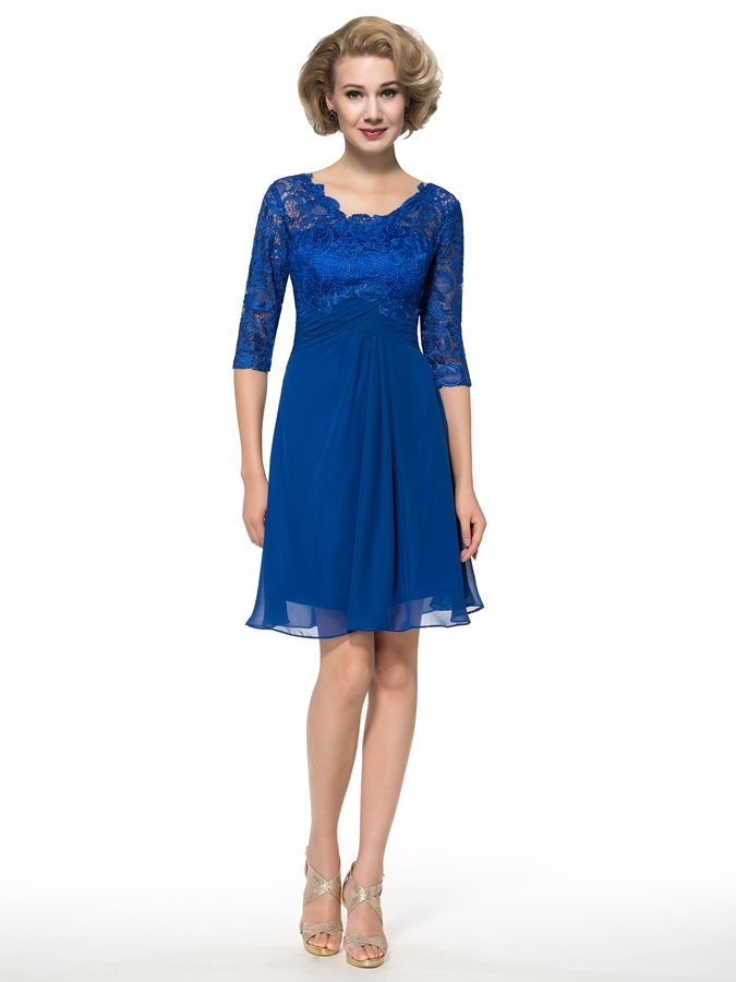 2020 Knee-Length Half Sleeve Lace Mother Of The Bride Dresses For Wedding Royal Blue Evening Prom Party Dresses Vestiods