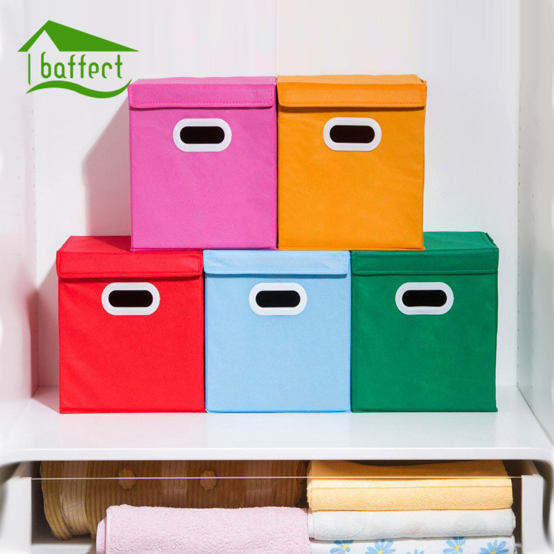 2019 New Wardrobe Kids Organizer Bins Box For Toys: Spinning Cloth Folding Cover Storage Box With Handle