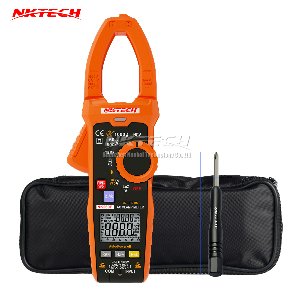 NKTECH NK260E Digital Clamp Meter 1000V VFD Analogue Bar Graph Ture RMS Temperature AC DC V ACA Resistance Frequency Capacitance fashlight nktech super bright nk 9t6 9x