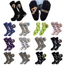 18 Colors Men Unisex Winter Knitted Mid-Calf Long Crew Socks Funny OK Gesture Printed Hip-Hop Trendy Cotton Hosiery Skateboard S
