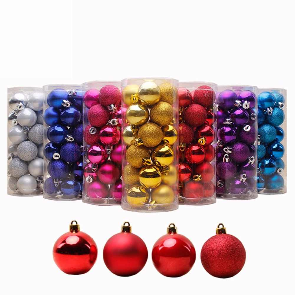 24 PCS 4cm 6cm 8cm Modern Shiny Christmas Tree Ball Baubles Party Wedding Hanging Ornament Christmas Decoration Supplies