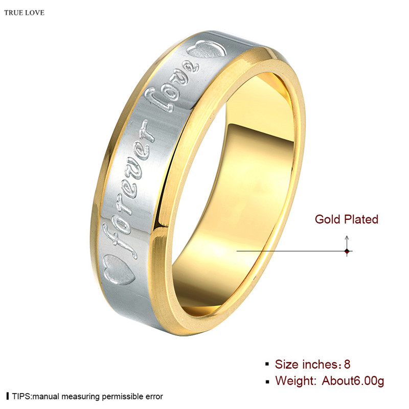 US $1 29 30% OFF|Hot Sale Stainless Steel Golden Finger Ring Size 6 10 #  stamped forever Lover For Men Wedding Gifts anel masculino ANGELTEARS-in