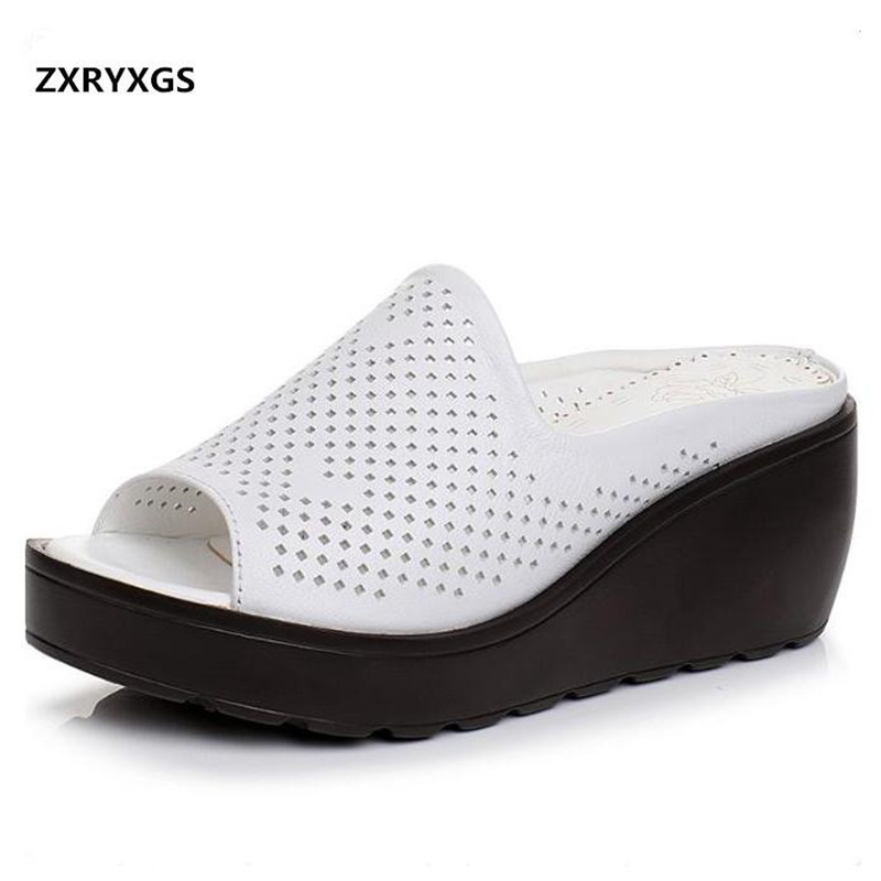 ZXRYXGS Brand Sandals Summer Women Slippers 2019 Breathable Genuine Leather Sandals Wedges High Heel Shoes Woman