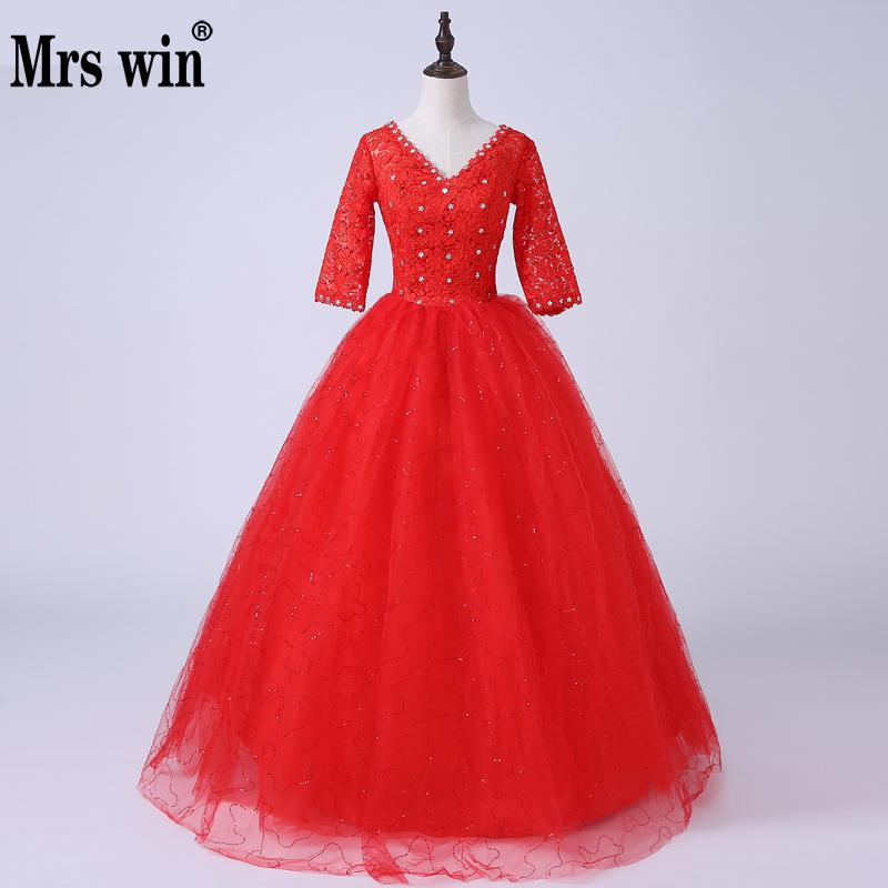 New Design Half Sleeve Wedding Dress V-neck Ball Gown Simple Luxury Lace Red Wedding Gowns Vestido De Noiva