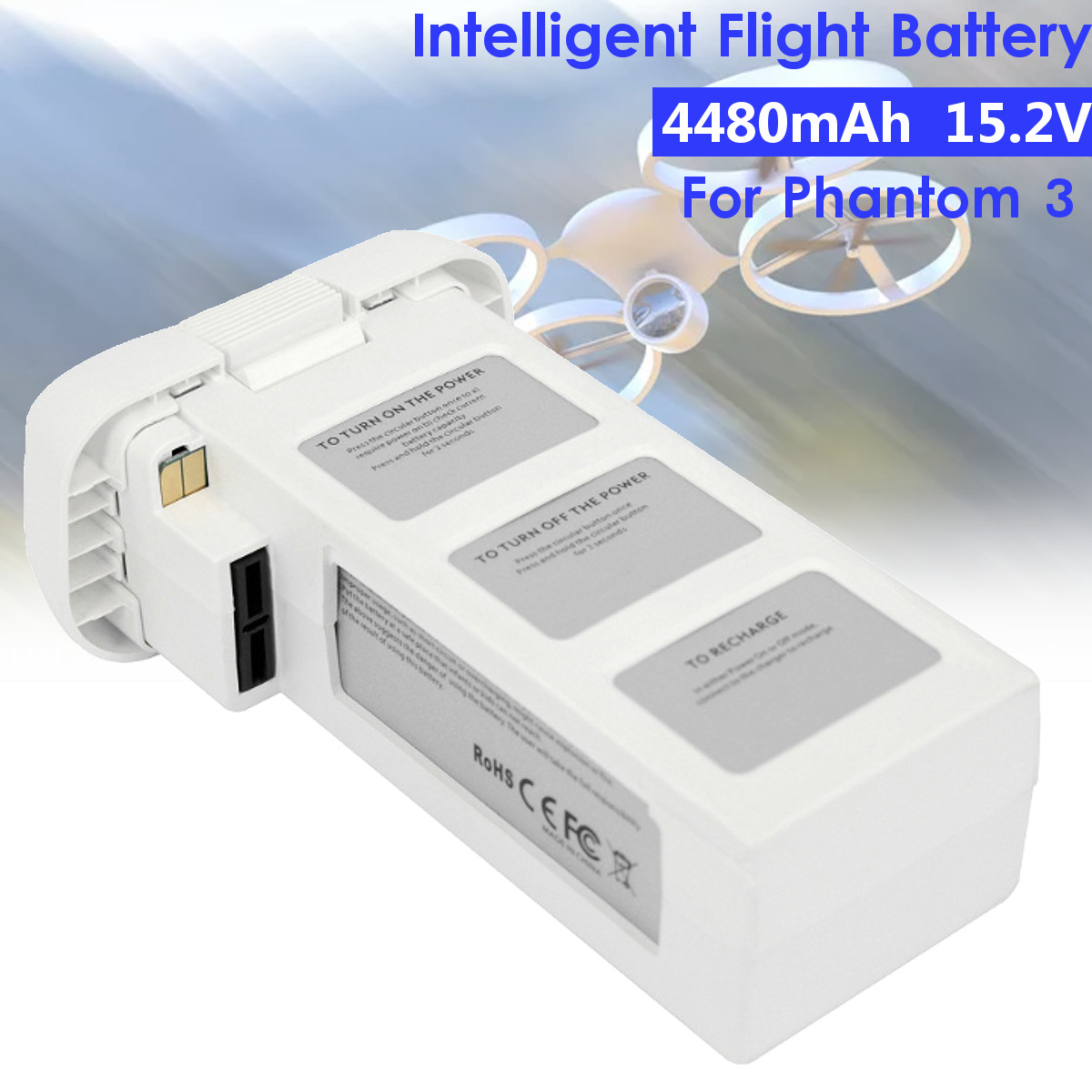 For DJI Phantom 2 3 4480mAh 5200mAh Drone Batterys Upgraded Large Capacity Spare Battery Vision + Quadcopter 66.6Wh 10C