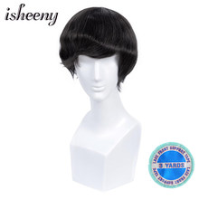 Isheeny Men Toupee Human Hair Wigs Mono Toupee Natural Hairline Lace Thin PU Replacement System Remy Toupees Hair Wigs for Men(China)