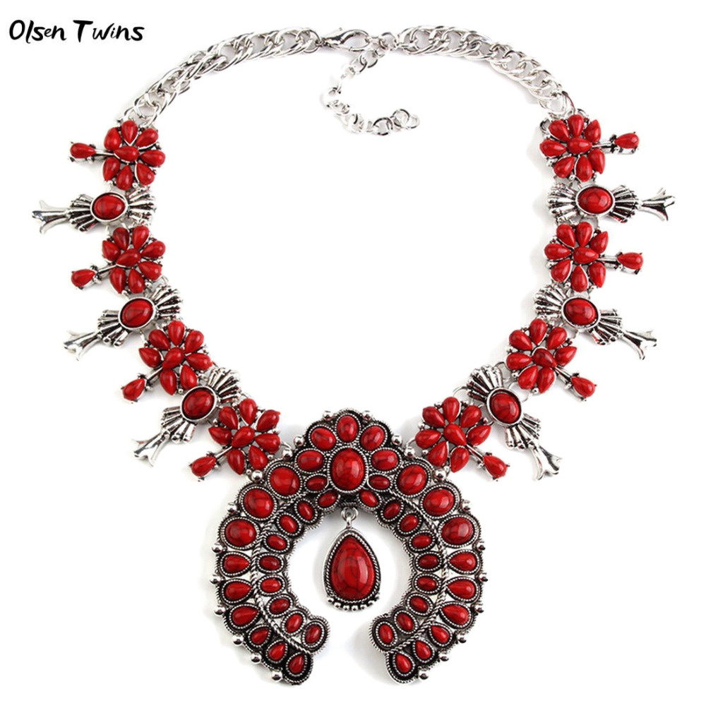 Olsen Twins Boho Vintage Etnicos Bohemian Resin Stone Big Statement Necklaces for Women Dropshipping Wholesale