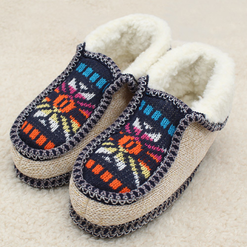 2020 Plush Slippers Winter Warm Sun flower Knitted Home Slippers Soft Bottom Cotton Women Slippers Shoes Indoor Shoes Woman