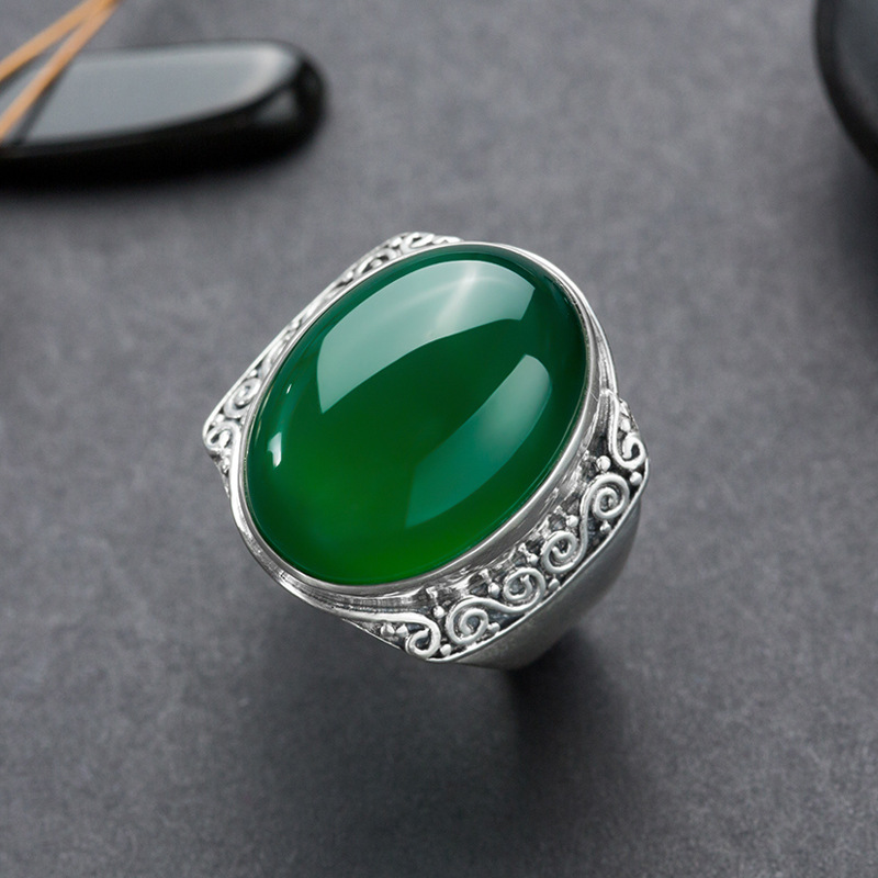 Long Baolong authentic 925 Sterling Silver Silver Natural Ice Chrysoprase food retro pattern ring ring 925 silver heart shaped pattern ring silver