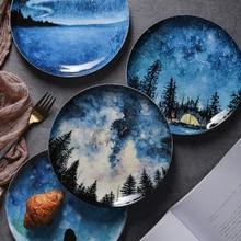 2Pcs Coloured Ceramic dish Breakfast Plate Gift Dish Tableware Decoration Handmade Ceramic Plate Cake Pastry Fruit Cake plate