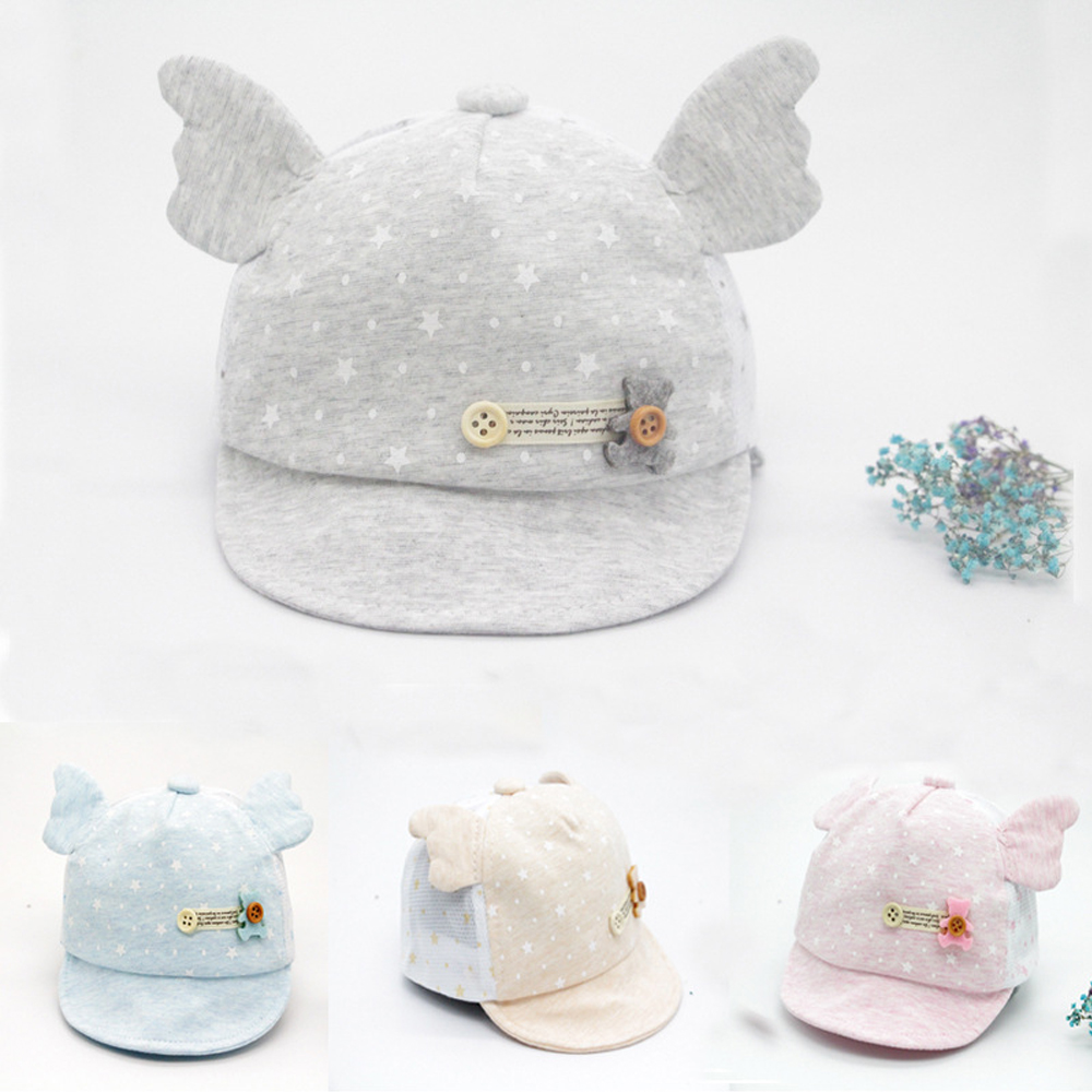 Clearance Baseball Cap Cute Bear Beanies Caps Infant Summer Visors Sun Hat with Wing Baby Photography Accessories Touca Infantil
