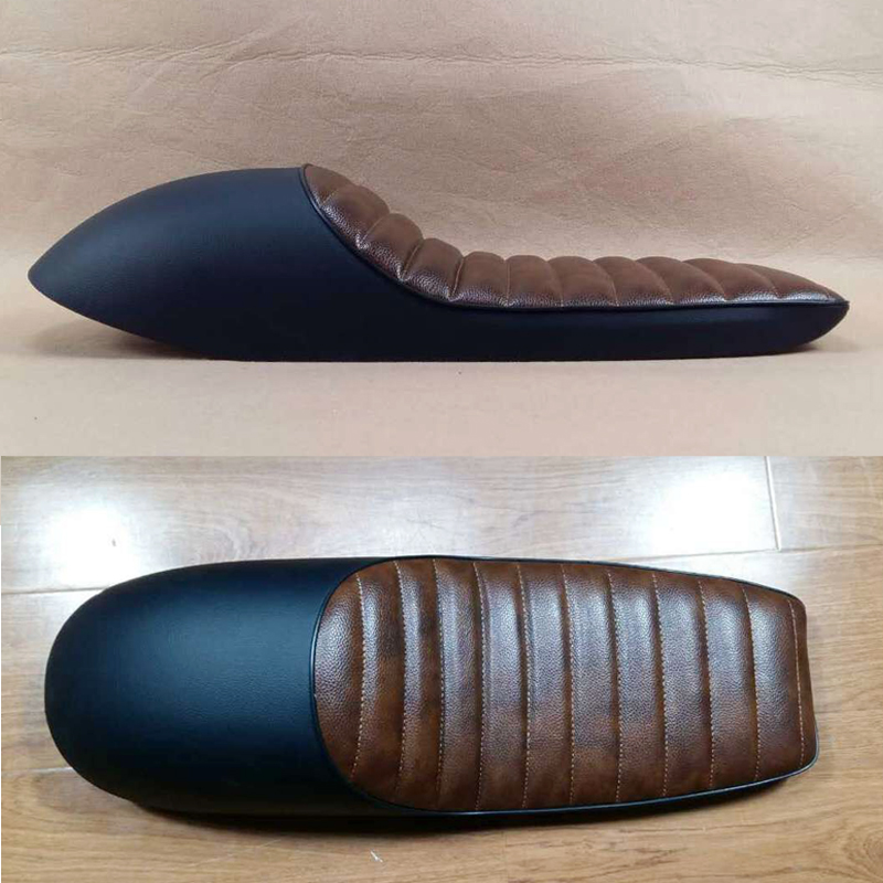 BRAND NEW Black With brown Motorcycle Parts Cafe Racer seat Flat Seat Motorcycle refit cushion CUSHION SADDLE