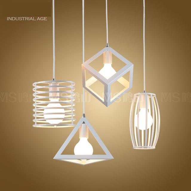 1-3 pcs Geometry pendant lights for Hallway Boutiques Vintage Industrial Iron hanging Lamps Bar Cafe E27 holder showcase Lights